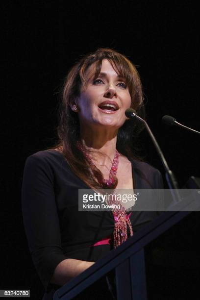 Opera singer and former cast member and friend Marina Prior speaks at the public memorial service held for actor Rob Guest at the Regent Theatre on...