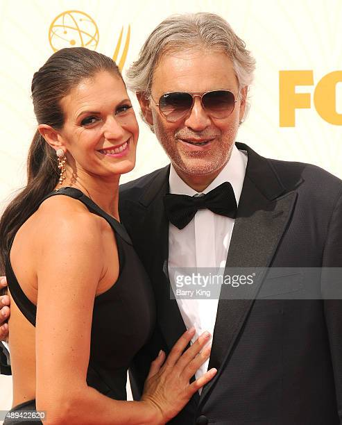 Opera Singer Andrea Bocelli and his wife Veronica Berti arrive at the 67th Annual Primetime Emmy Awards at the Microsoft Theater on September 20 2015...