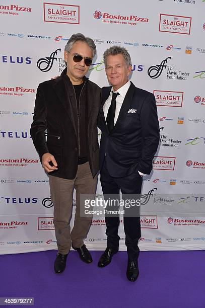 Opera singer Andrea Bocelli and producer/composer David Foster attend the David Foster Foundation Benefit Concert at Allstream Centre on December 5...