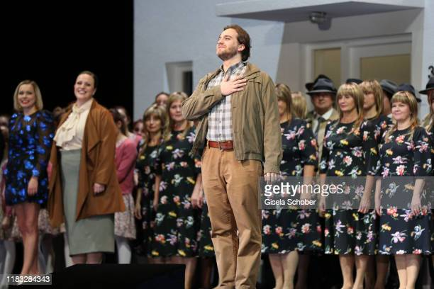 Opera singer Andrzej Filonczyk during the final applause of the opera premiere of Die tote Stadt by Erich Wolfgang Korngold at Bayerische Staatsoper...