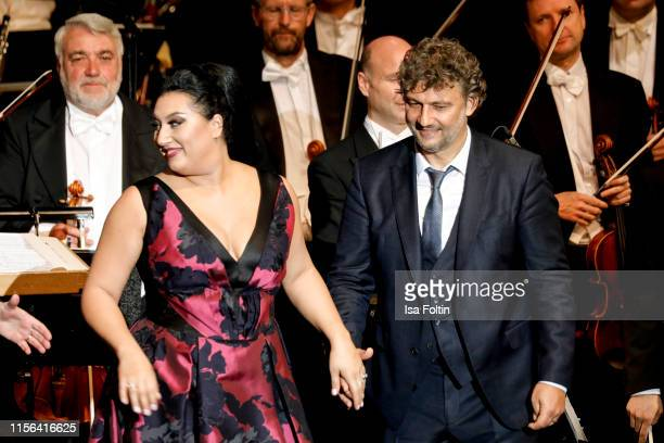 Opera singer Anita Rachvelishvili and opera singer Jonas Kaufmann live on stage during the Thurn Taxis Castle Festival 2019 on July 18 2019 in...