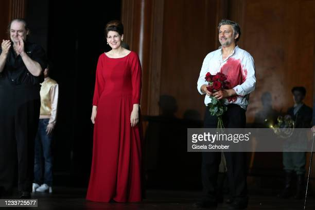 """Opera singer Anja Harteros and Opera singer Jonas Kaufmann after the premiere of """"Tristan und Isolde"""" as part of the Munich Opera Festival 2021 at..."""