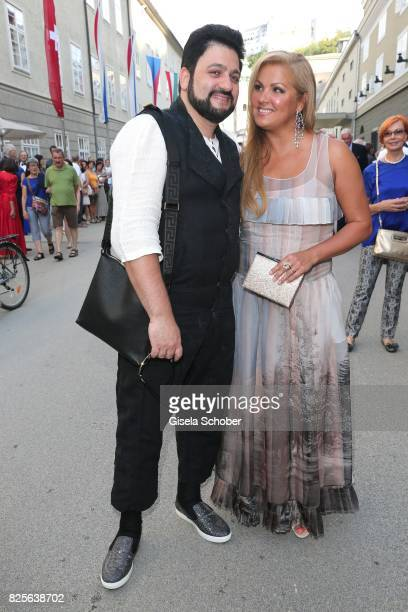 Opera singer Anna Netrebko and her husband Yusif Eyvazov during the premiere of the opera 'Lady Macbeth von Mzensk' during the opera festival on...