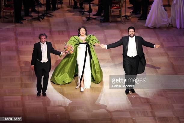 Opera singer Anna Netrebko and her husband Yusif Eyvazov perform during the Opera Ball Vienna at Vienna State Opera on February 28 2019 in Vienna...