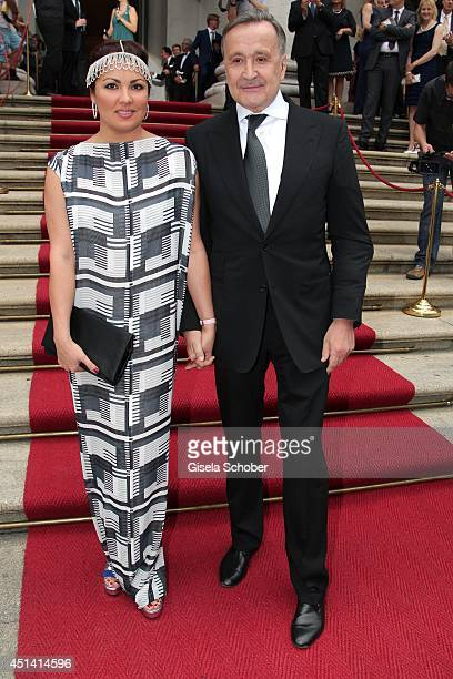 Opera singer Anna Netrebko and Klaus Bachler attend the 'Guillaume Tell' Opera Premiere at the Opera Festival Opening In Munich on June 28 2014 in...