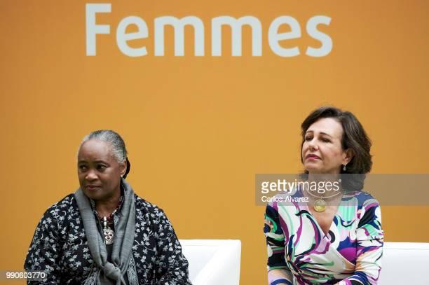 US opera singer Barbara Hendricks and President of the Spanish bank Banco Santander Ana Patricia Botin attend an event organized by 'Mujeres por...