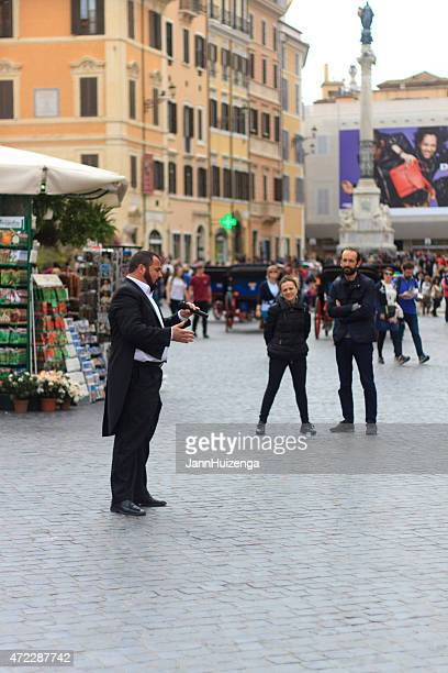 Opera Singer Busker in Tuxedo Performs in Piazza Spagna, Rome
