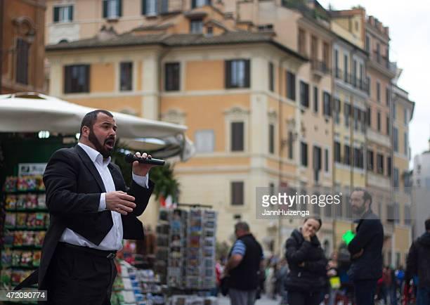 Opera Singer Busker in Tuxedo Sings in Piazza Spagna, Rome