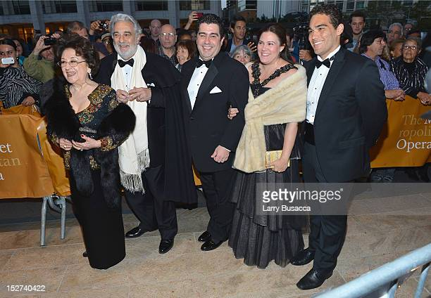 Opera Singer Conductor Placido Domingo and wife Marta Ornelas and family attend the 2012 Metropolitan Opera Season Opening Night performance of...