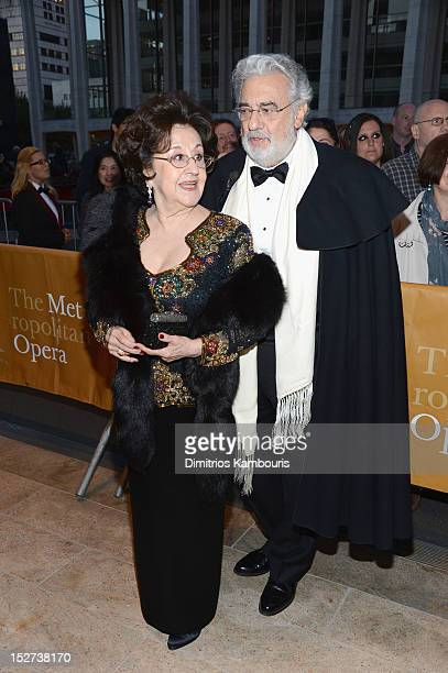 Opera Singer Conductor Placido Domingo and wife Marta Ornelas attend the 2012 Metropolitan Opera Season Opening Night performance of L'Elisir D'Amore...