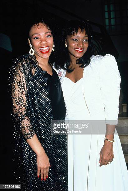 Opera singer Cynthia Haymon and Yolanda King Martin Luther King Jr's daughter attend the premiere of musical 'King' on April 24 1990 in London England