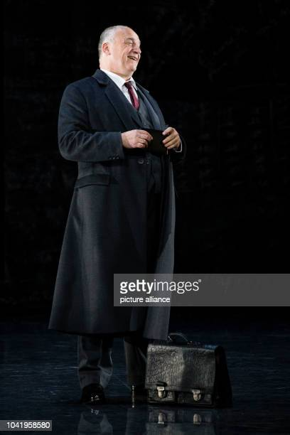 Opera singer Falk Struckmann stands on stage in his role as Don Pizarro during a photo rehearsal of the opera 'Fidelio' of the State Opera at...