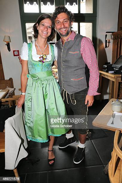 Opera Singer Jonas Kaufmann and his girlfriend Christiane Lutz during the 'Fruehstueck bei Tiffany' at Tiffany Store ahead of the Oktoberfest 2015 on...