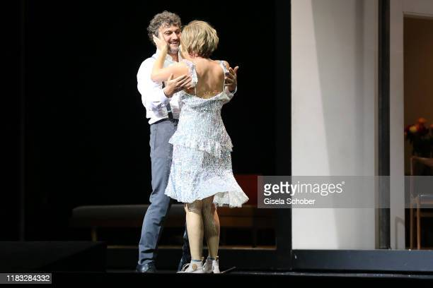 Opera singer Jonas Kaufmann and Marlis Petersen during the final applause of the opera premiere of Die tote Stadt by Erich Wolfgang Korngold at...