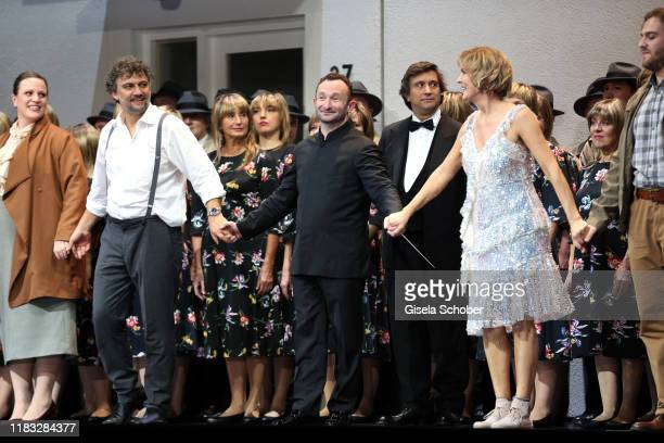 Opera singer Jonas Kaufmann Conductor Kirill Petrenko and Marlis Petersen during the final applause of the opera premiere of Die tote Stadt by Erich...
