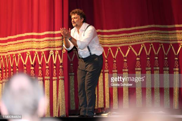 Opera singer Jonas Kaufmann during the final applause of the opera premiere of Die tote Stadt by Erich Wolfgang Korngold at Bayerische Staatsoper on...
