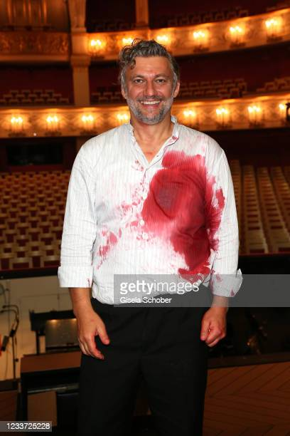 """Opera singer Jonas Kaufmann during the premiere of """"Tristan und Isolde"""" as part of the Munich Opera Festival 2021 at Nationaltheater on June 29, 2021..."""