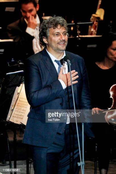 Opera singer Jonas Kaufmann performs live on stage during the Thurn Taxis Castle Festival 2019 on July 18 2019 in Regensburg Germany