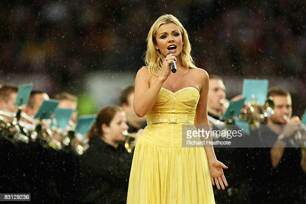 Opera Singer Katherine Jenkins performs Jerusalem prior to kickoff during the engage Super League Grand Final between StHelens and Leeds Rhinos at...
