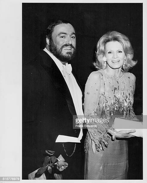 Opera singer Luciano Pavarotti and actress Angie Dickinson attending the 53rd Annual Academy Awards, California, March 11th 1981.