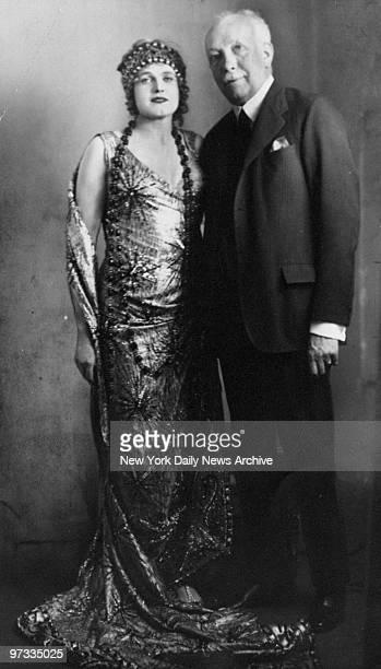 Opera singer Madam Maria Jeritza stands with composer Richard Strauss.