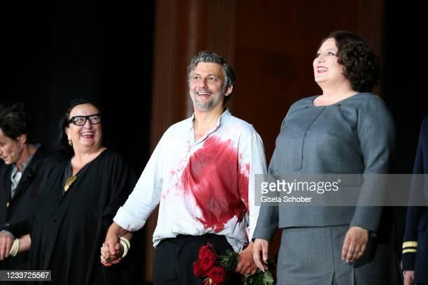 """Opera singer Malgorzata Szczesniak, Jonas Kaufmann, Okka von der Damerau during the premiere of """"Tristan und Isolde"""" as part of the Munich Opera..."""