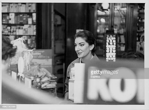 Opera singer Maria Callas shopping in London September 24th 1959