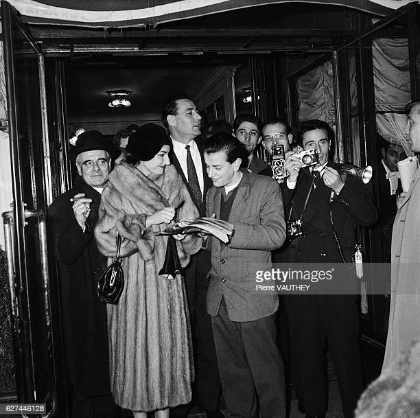 Opera singer Maria Callas signs autographs for her admirers in Paris She is visiting Paris with her husband Italian industrialist Giovanni Battista...