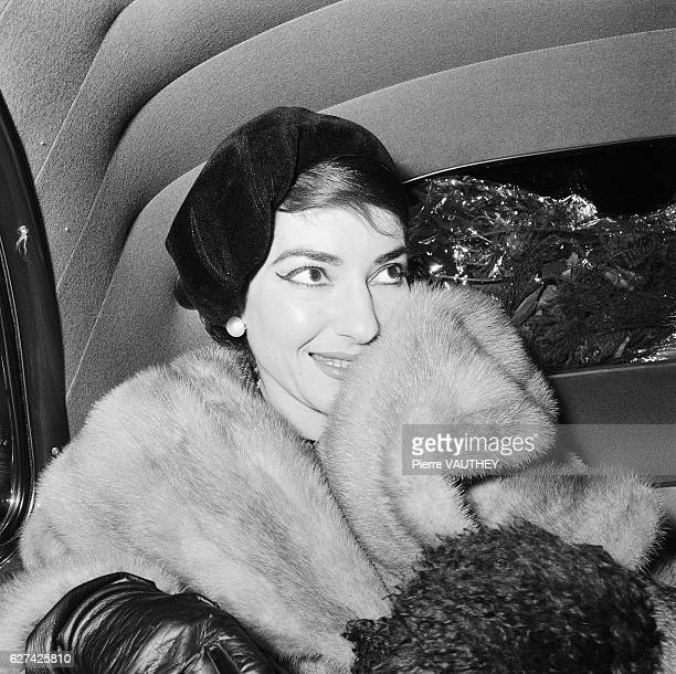 Opera singer Maria Callas visits Paris She is accompanied by her husband Italian industrialist Giovanni Battista Meneghini