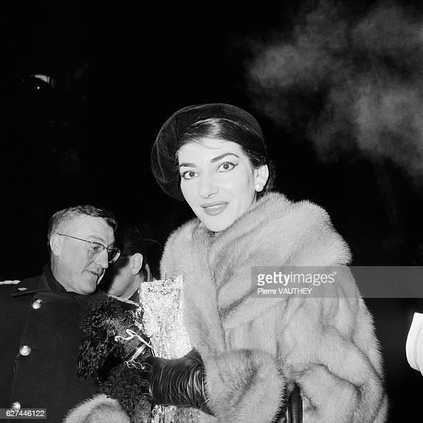 Opera singer Maria Callas visits Paris with her husband Italian industrialist Giovanni Battista Meneghini
