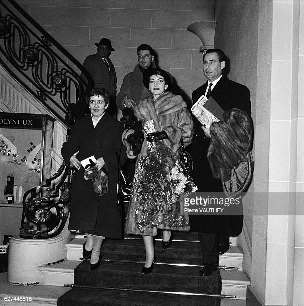 Opera singer Maria Callas visits Paris with her husband Italian industrialist Giovanni Battista Meneghini and their friends