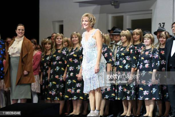 Opera singer Marlis Petersen during the final applause of the opera premiere of Die tote Stadt by Erich Wolfgang Korngold at Bayerische Staatsoper on...
