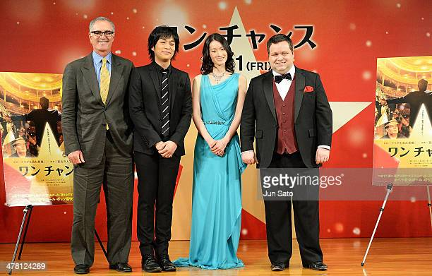 Opera singer Paul Potts figure skater Shizuka Arakawa singer Norimasa Fujisawa and director David Frankel attend One Chance Premier at the Gloria...