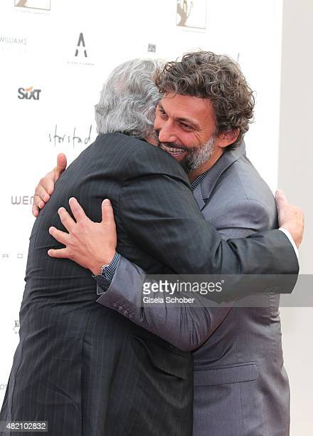 Opera singer Placido Domingo and Jonas Kaufmann during the 'Die Goldene Deutschland' Gala on July 26 2015 at Cuvillies Theater in Munich Germany