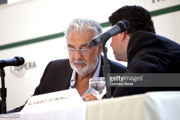 Opera singer Placido Domingo and producer Alvaro Domingo attend the Operalia 2014 Press Conference held at the Dorothy Chandler Pavilion on August 26...
