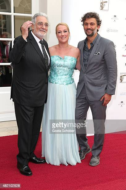 Opera singer Placido Domingo, Diana Damrau and Jonas Kaufmann during the 'Die Goldene Deutschland' Gala on July 26, 2015 at Cuvillies Theater in...