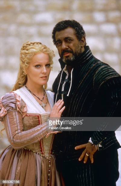 Opera singer Placido Domingo who interprets Otello for the film version of Verdi's opera, based on Shakespeare's play, with Katia Ricciarelli in the...