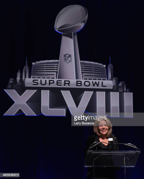 Opera singer Renée Fleming speaks at the Pepsi Super Bowl XLVIII Halftime Show Press Conference at Rose Theater Jazz at Lincoln Center on January 30...