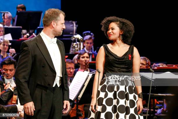 Opera singer Thomas Blondelle and opera singer Golda Schultz during the 24th Opera Gala at Deutsche Oper Berlin on November 4 2017 in Berlin Germany