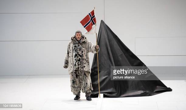 Opera singer Thomas Hampson as Roald Amundsen performs on stage during a rehearsal of the opera 'South Pole' at the Nationaltheater in Munich Germany...