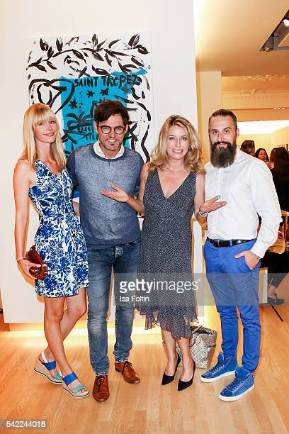 Opera singer Tobey Wilson with his girlfriend Sabrina Gehrmann german actor Cosima von Borsody and Tobias Bojko CEO Ajoure magazine attend the...