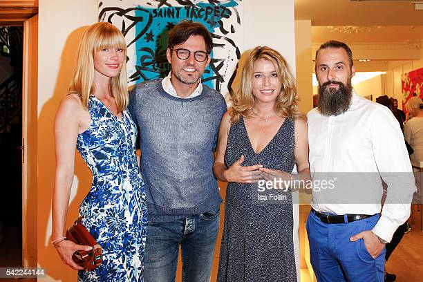 Opera singer Tobey Wilson with his girlfriend Sabrina Germann german actress Cosima von Borsody and Tobias Bojko CEO Ajoure magazine attend the...