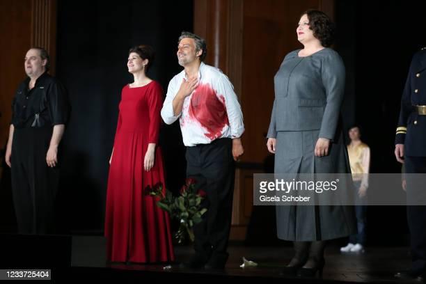 """Opera singer Wolfgang Koch, Anja Harteros Jonas Kaufmann and Okka von der Damerau after the premiere of """"Tristan und Isolde"""" as part of the Munich..."""