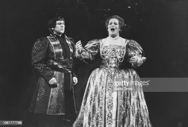 Opera singers Henry Howell and Elizabeth Connell performing in the opera 'Boris Godunov' November 19th 1980