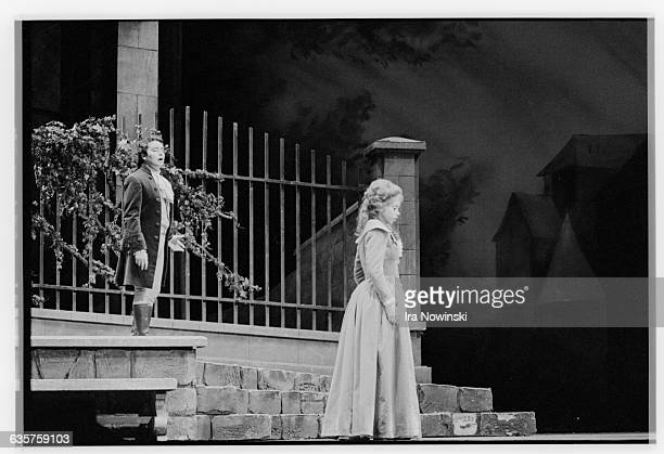 Opera singers Jose Carreras and Maria Ewing rehearse a scene from Werther Composer Jules Massenet