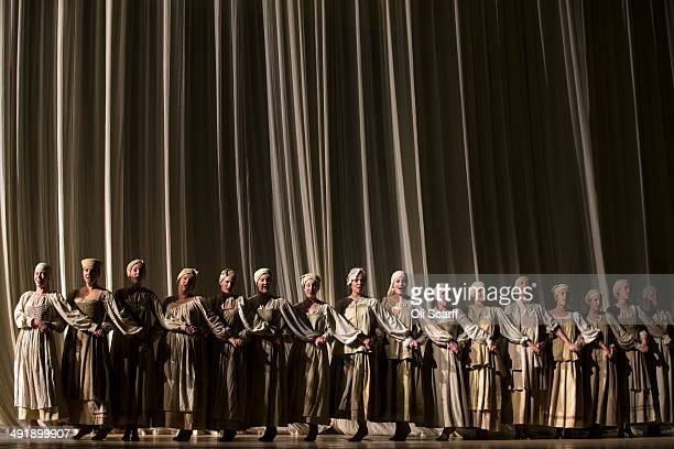 Opera singers perform in one of the last dress rehearsals for Pyotr Ilyich Tchaikovsky's opera 'Eugene Onegin' in Glyndebourne opera house on May 13...