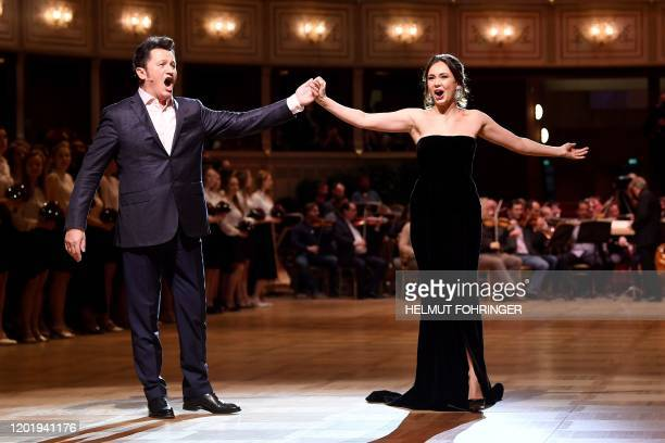 Opera Singers Piotr Beczala and Aida Garifullina perform during a rehearsal on the eve of the 2020 Opera Ball at the State Opera Mahler's saal in...