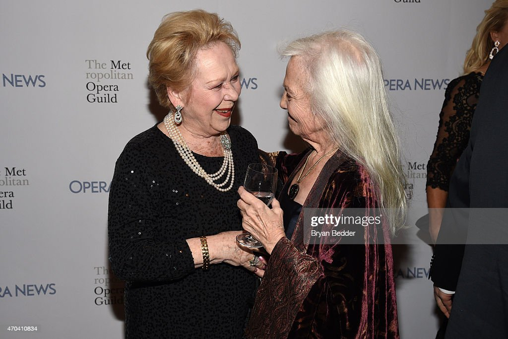 Opera singers Sondra Radvanovsky and Teresa Stratas attend 10th Annual Opera News Awards at The Plaza Hotel on April 19, 2015 in New York City.