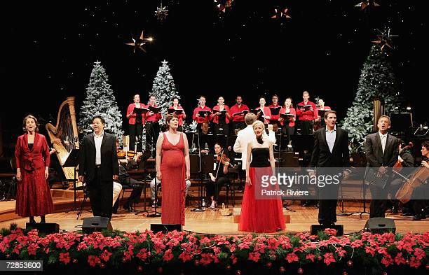 Opera singers Yvonne Kenny Henry Choo Catherine Carby Taryn Fiebig David Hobson and actor/singer Simon Burke perform at the dress rehearsal for the...