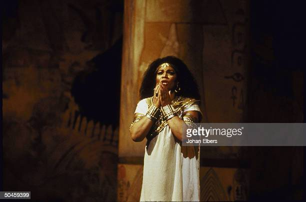 Opera star Leona Mitchell as the title character during the dress rehearsal of the opera Aida at the Metropolitan Opera